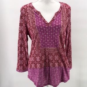 Lucky Brand Pink Mixed Pattern Top L